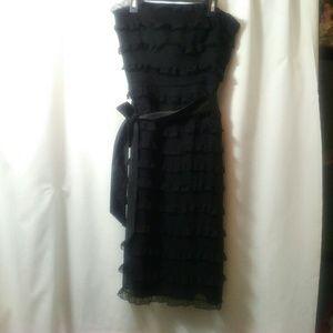 Betsey Johnson black ruffled layer midi dress